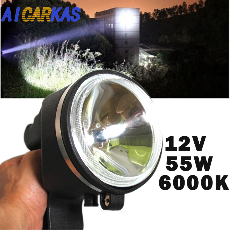 AICARKAS 12V 55W HID Xenon Search Light H3 HID Spotlight Searchlights Xenon Handheld Camping Hunting Fishing Searching lamp 10 75w 240mm hid xenon handheld portable driving search spotlight hunting fishing hiking camping emergency light 5500lm 9 32v