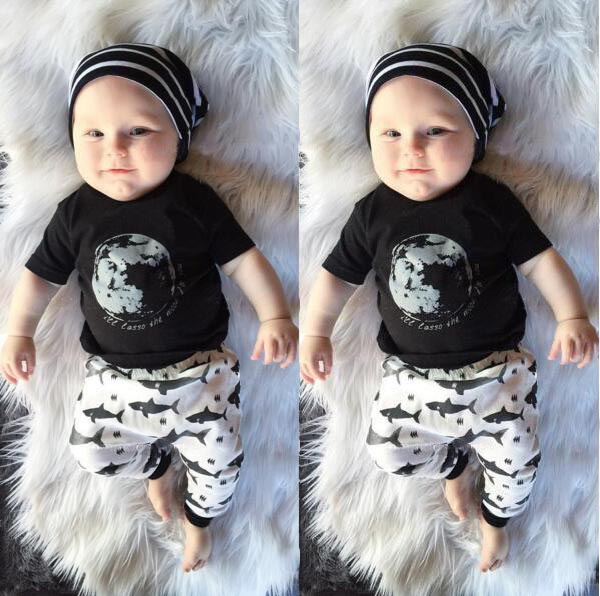 2017 summer Baby Boy Clothes Newborn Baby Clothing Sets T shirt+ ...