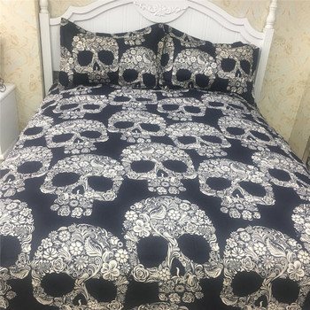 Cheap Bed Sheets   Sugar Skull Bedding Set Full - Queen Size Duvet Covers Bed Sheet Pillowcase Cheap Wholesale Home Textiles Set