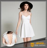 Thời Trang mùa hè Dresses Phong Cách Sexy Backless Ăn Mặc Nữ A-Line Rắn V-Cổ Ren Đôi Cánh Thiên Thần Rỗng Ra Khỏi Dây Đảng Dresses