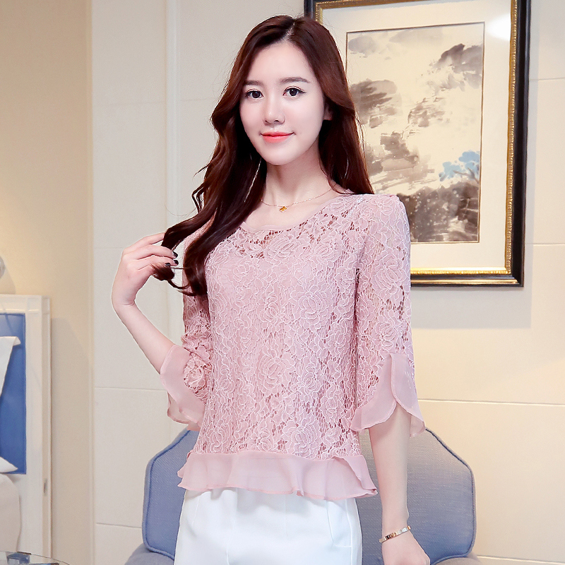 2019 summer new women chiffon shirt sleeve Top Beading Women Blouses Shirt Blusas Female Lace Blouses Beach CasGirl Lace 109C girl