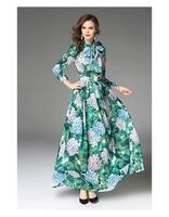 Mifairy 2017 Green Leafs Print Bohemian Long Dress Autumn Chiffon Long Sleeves Holiday Beach Maxi Dress