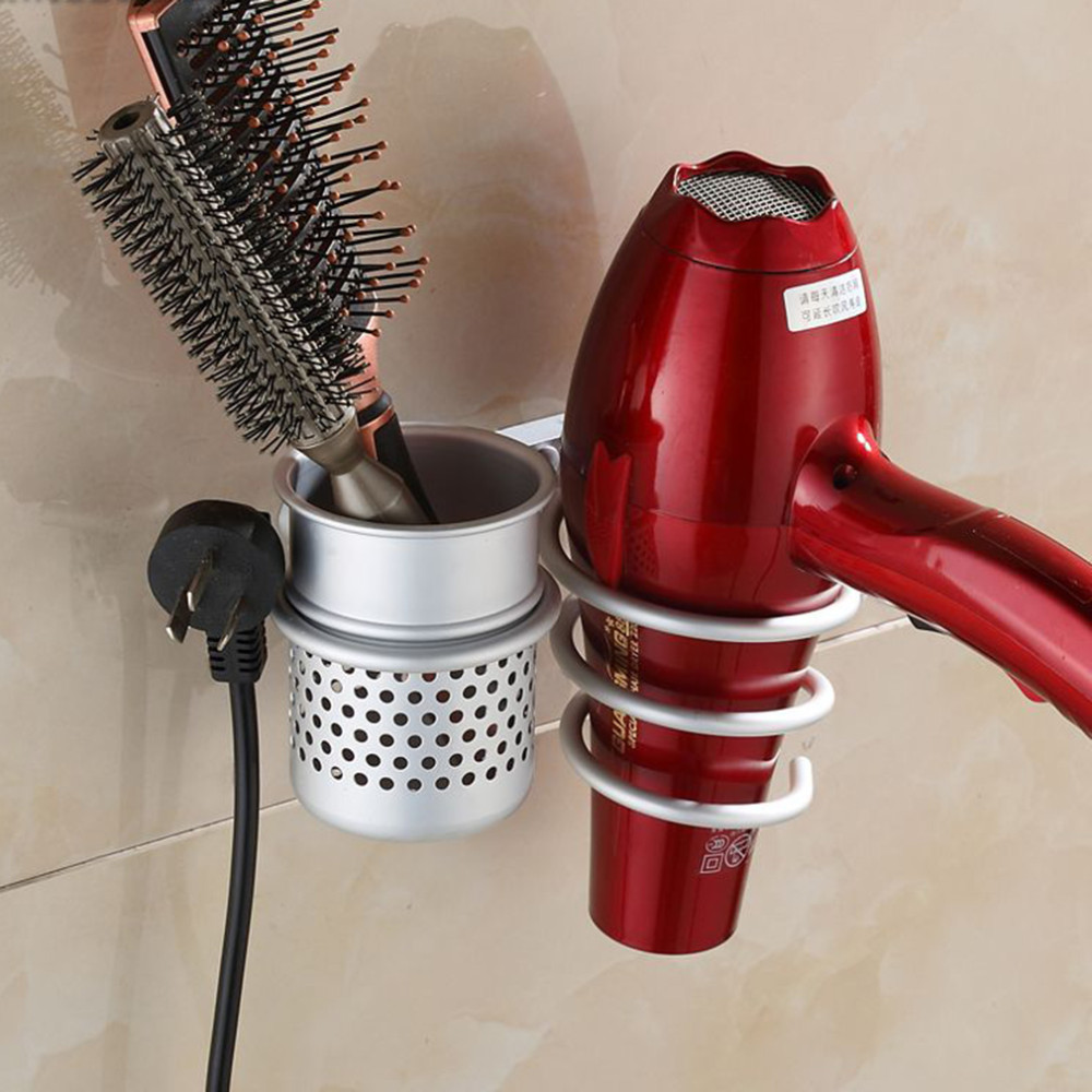 Multi-function Bathroom Wall Mounted Hair Dryer Comb Rack Space Aluminum Shelf Storage Organizer Hairdryer Holder Spiral Stand