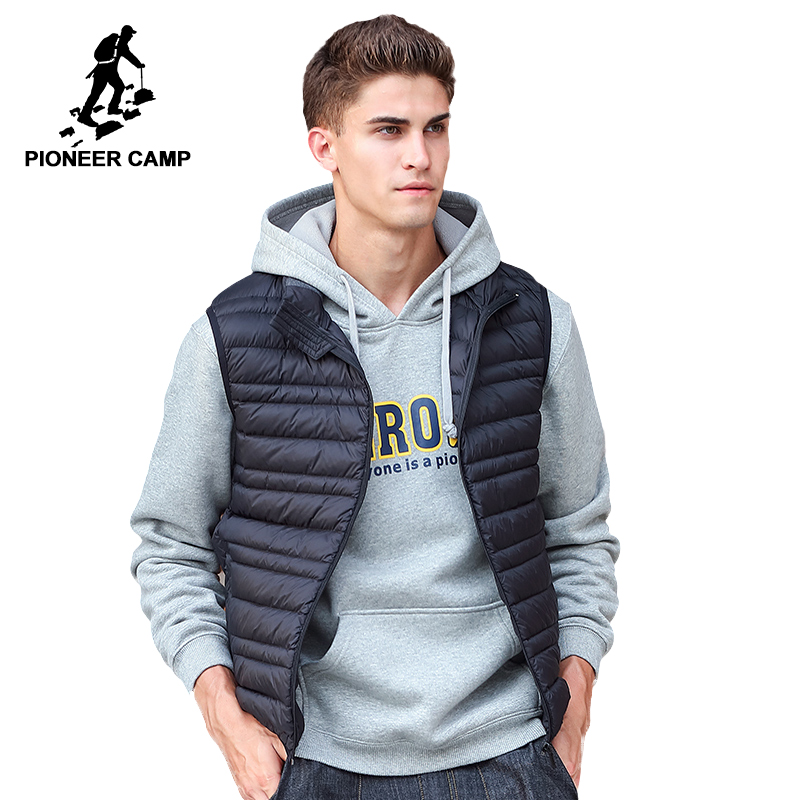 Pioneer Camp Sleeveless down Jacket Men Brand male autumn Spring Casual Ultralight Down Vest Slim Men's Vest Waistcoat 611621