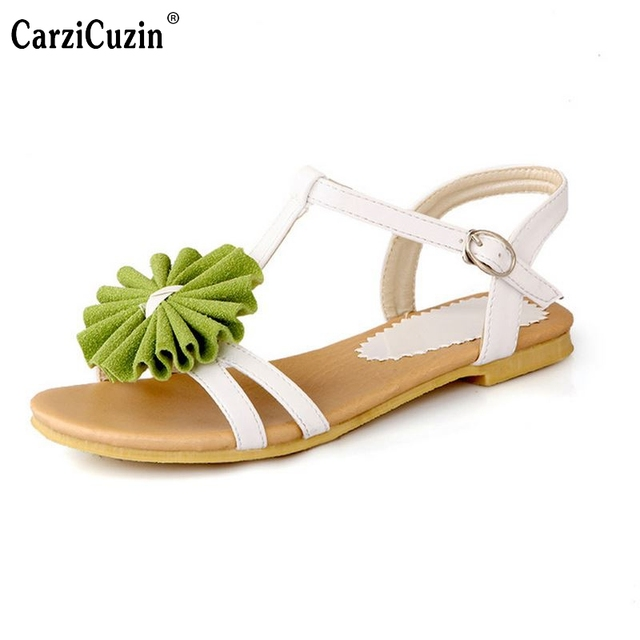 175bee4fa041 Gladiator Sandals For Women Bohemia Beaded Summer Flower Lady Flat Flip  Flops Women Shoes Sweet Color Sandals Size 34-43 PA00364