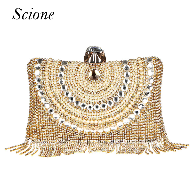 New Women Diamond Wedding bride Shoulder Crossbody Bags Gold Clutch Beaded Tassel Evening Bags Party Purse banquet Handbags Li29 new women diamond wedding bride shoulder crossbody bags gold clutch beaded tassel evening bags party purse banquet handbags li29