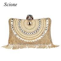 New Women Diamond Wedding bride Shoulder Crossbody Bags Gold Clutch Beaded Tassel Evening Bags Party Purse banquet Handbags Li29