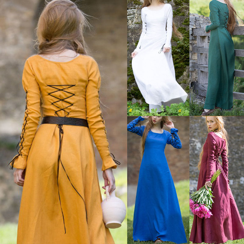 Adult Women Medieval Movie Vintage Floor Lacing Dress Casual Costume Solid Color Back Hollow Lace-Up Hooded Tunic For Girls