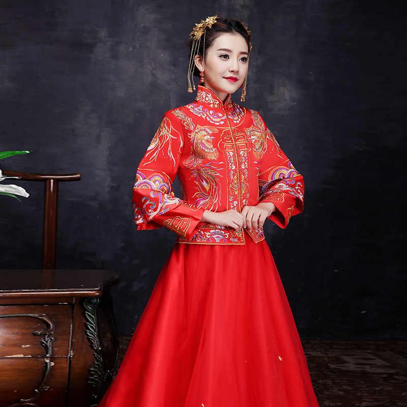 赤花嫁金糸刺繍ドラゴンフェニックステーリングの結婚式袍繁体字中国語ドレスロングチャイナドレスヴィンテージ秀彼