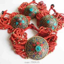 BB-487 Joyas Tibetano Rojo mini Con Cuentas Encanto Pulseras Handamde joyería Étnica de La Vendimia de Nepal