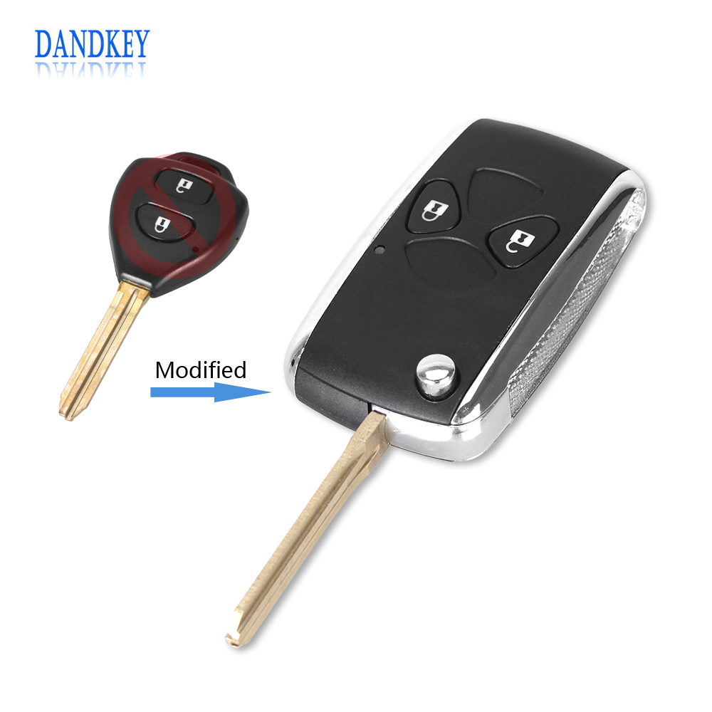 Dandkey Modified Switchblade Key 2 Buttons For Toyota Car For Toyota Corolla RAV4 Yaris Toy43 Blade Car Remote Key Shell Case