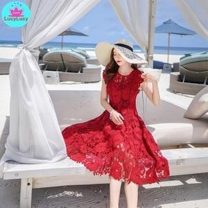 Image 4 - 2019 yaz yeni ağır iş dantel ajur retro kırmızı elbise bel elbise diz boyu tankı dantel kolsuz