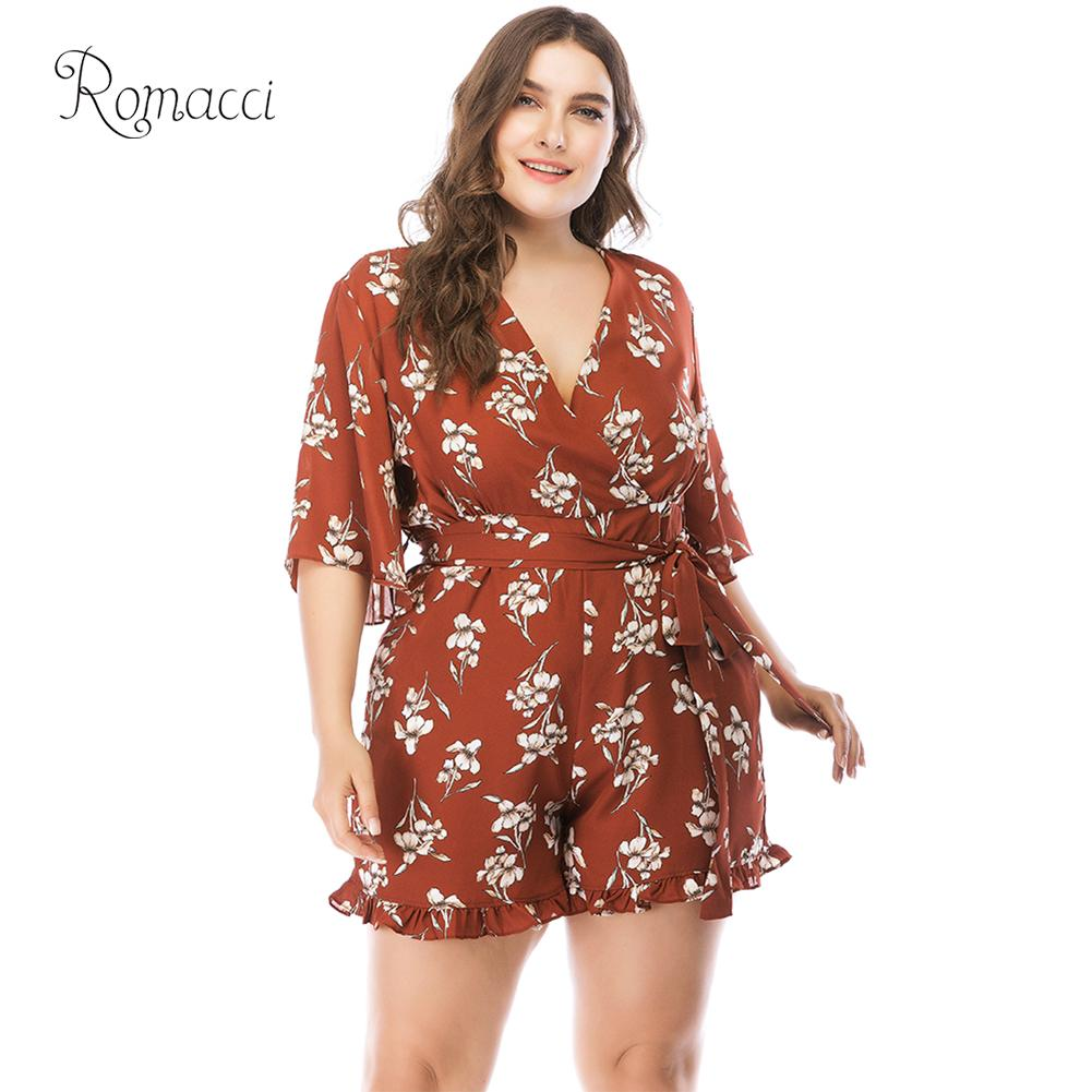 Romacci Women 5XL Plus Size Short   Jumpsuit   Floral Print V Neck Half Sleeves High Waist Ruffles Casual Playsuits and Rompers 2018