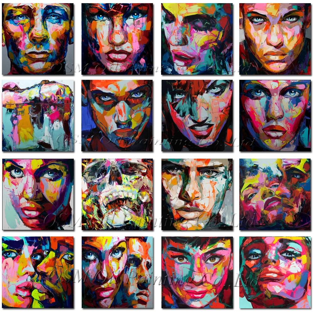 최고의 아티스트 손으로 그린 킹 사이즈 nielly francoise 초상화 유화 거실에 대 한 사용자 지정 추상 얼굴 유화-에서그림 & 서예부터 홈 & 가든 의  그룹 1