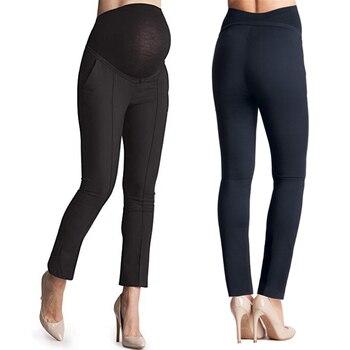 2b0a0fae1 Ropa de maternidad embarazada pantalones a medida azul marino pantalones  para las mujeres de cintura pierna recta ropa de mujer premama
