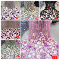 LASUI 1Y =1 piece 6 color beautiful Multicolor 3D flower Beads Unilateral positioning embroidery lace fabric for Dress X0355
