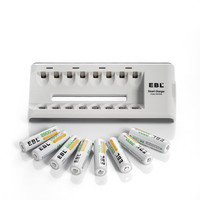 8pcs/lot EBL 2800mAh Ni MH Rechargeable Batteries + 8 Bay Charger AA/AAA Battery Charger free shipping