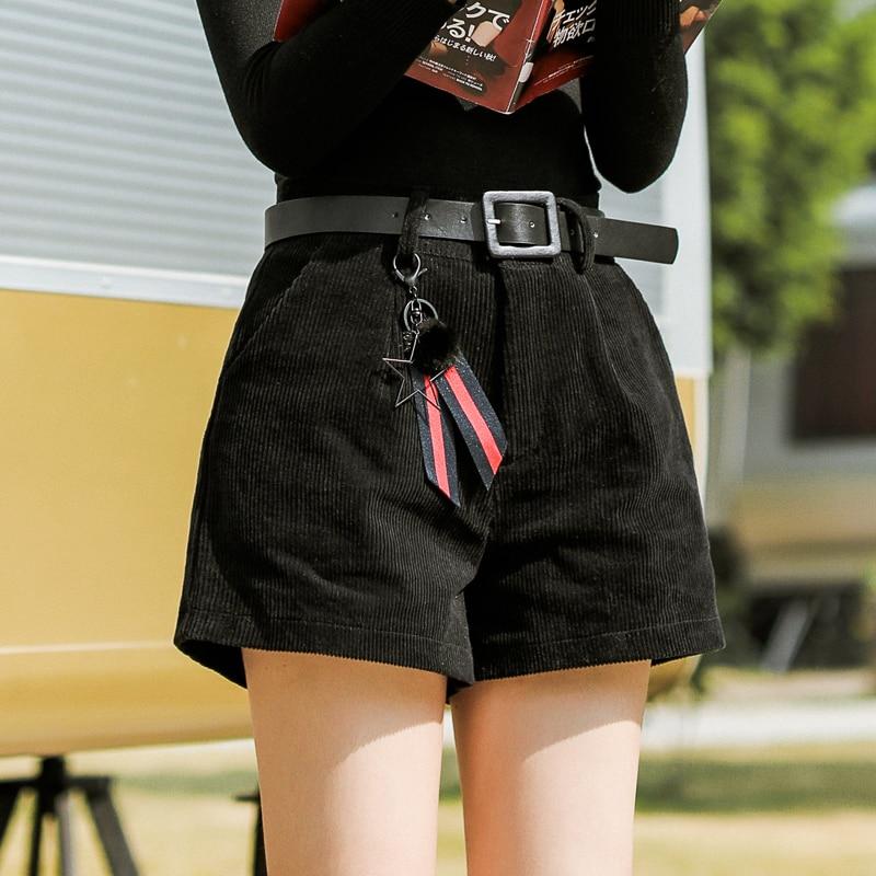 2018 Women's Korean Punk Harajuku Ulzzang Shorts Loose Solid Color Casual Female Ladies Corduroy Short For Women