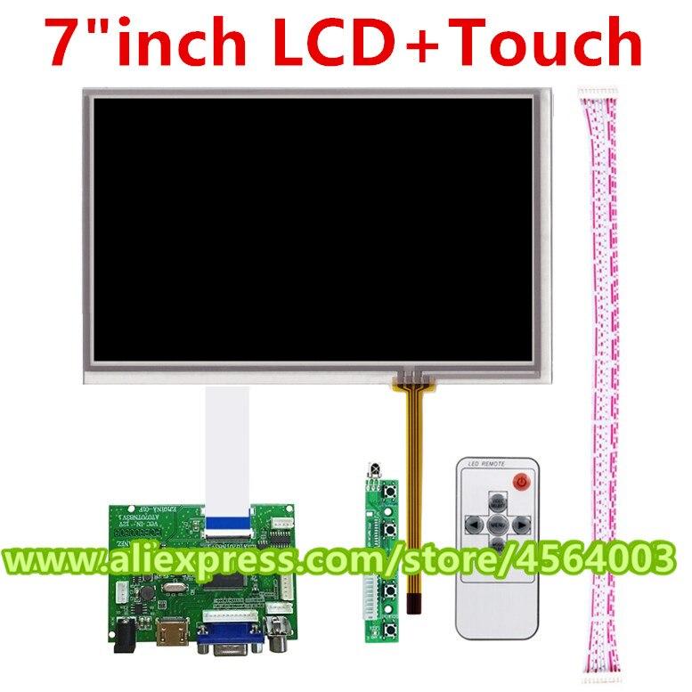 Pantalla LCD de 7 pulgadas AT070TN83 V.1 + pantalla táctil, placa controladora de monitor HDMI, controlador de Audio VGA 2AV para Raspberry Pi