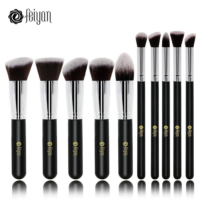 Feiyan 10pcs Face Makeup Brush Set Beauty Kabuki Foundation Powder Blush Eye Make Up Kit Cosmetic Professional Synthetic Hair