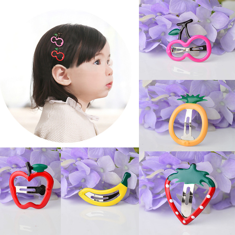 Newly Candy Color Girls Hairpin BB Clips Snap Band Hairpins Kids Hair Accessories Fruit Colorful Children   Headwear