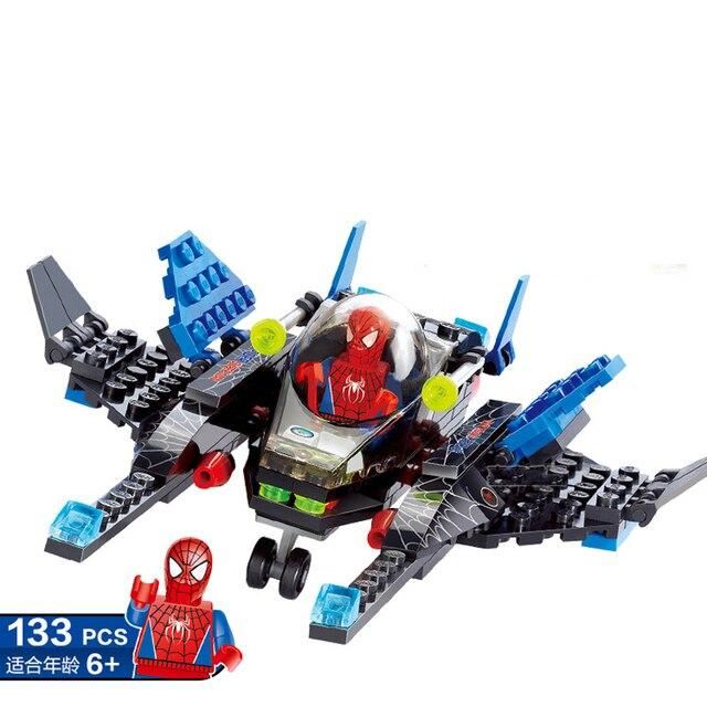 133pcs das Crianças montados brinquedos deformação Criativa Terminator Superhero Aranha figuras de brinquedo de blocos de construção Compatíveis