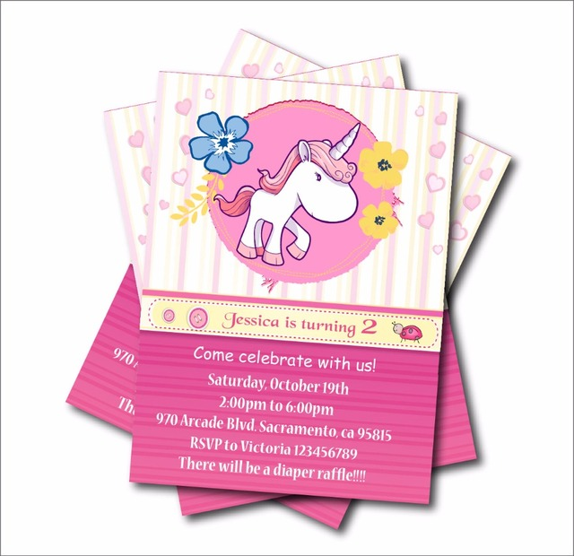 20 Pcslot Personalized Unicorn Birthday Invitations Girls Baby
