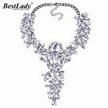 Best lady Bohemian Luxury Wedding Jewelry Multicolored Crystal Statement Necklace&Pendant Collar Chokers For Women Hot Sale 3897