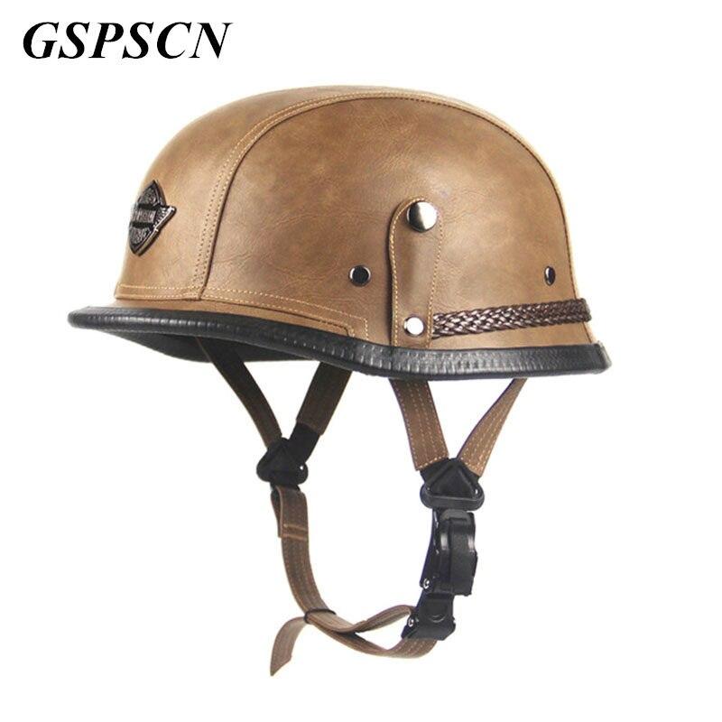 GSPSCN Motorcycle Motorbike Carbonfiber Helmet Black Adult Unisex Open Face Half Leather Harley Moto Motorcycle Helmet Vintage