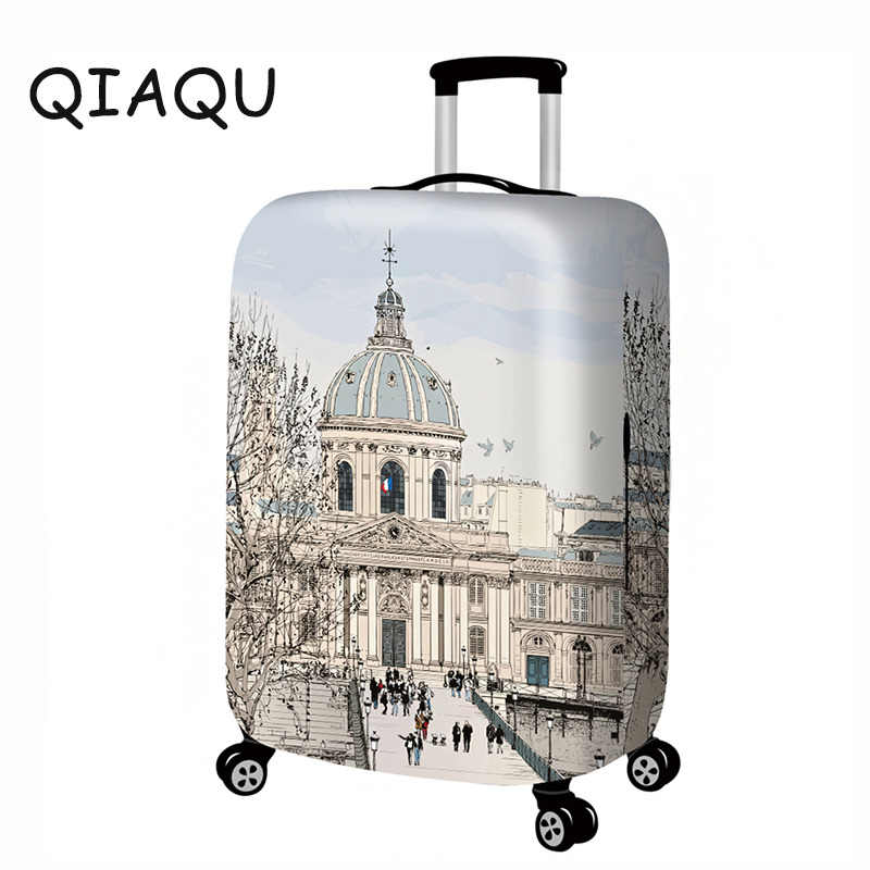 Travel Around The World Luggage Cover Suitcase Protector Fits 18-32Inch Washable Elastic Dustproof Baggage Bag Protector Cover