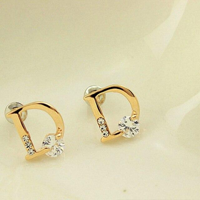 Gold Color Letter D Stud Earrings Crystal Rhinestone Earring Zircon Hollow Charm  Jewelry Women Accessories Female 234247336c0e