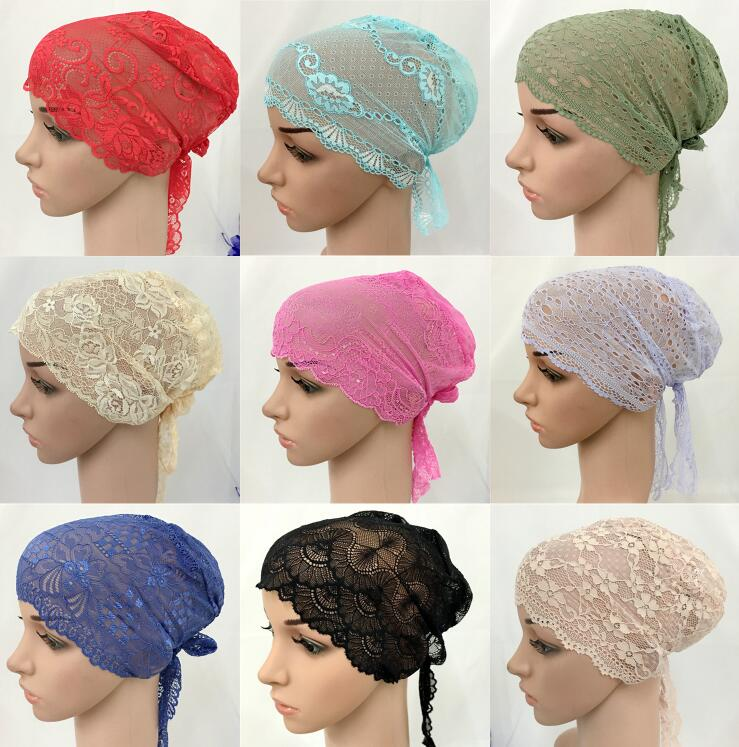12 PCS Fashion Women Muslim Inner Cap  Lace Flower Hijab Islamic Headwear   Hat Wraps 1