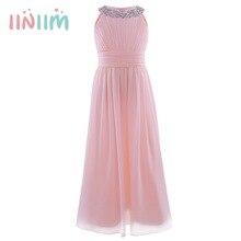 Iiniim robe dété pour filles, en mousseline de soie, robe princesse élégante, de fleurs, pour enfants, robe de fête de mariage