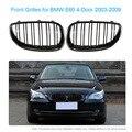 Par de Gloss Preto Grades Dianteiras Do Carro com Portas de Linha Dupla para BMW E60 2003-2009