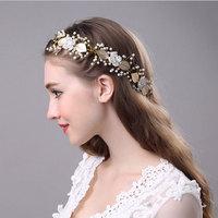 Gold Laurel Leaf Headpiece Gold Bridal Tiara Crown Pearl Beads Flower Headband Wedding Headpiece Bridal Hair