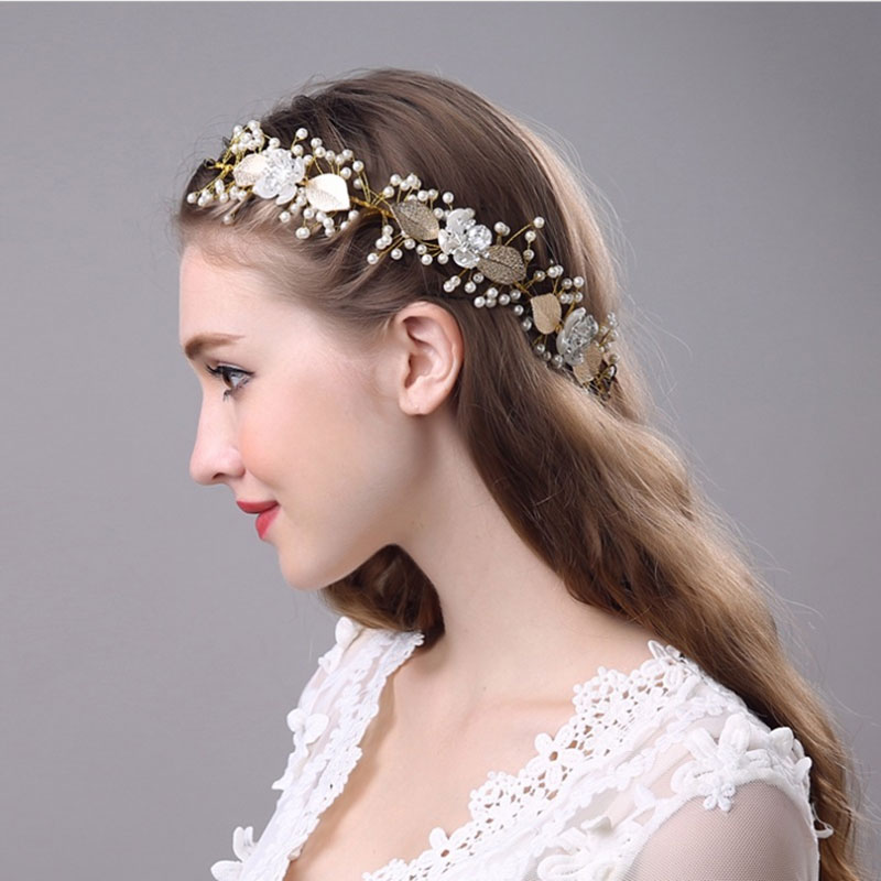 Gold Laurel Leaf Headpiece Gold Bridal Tiara Crown Pearl Beads Flower Headband Wedding headpiece Bridal Hair Accessories