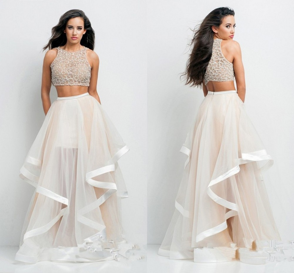 21f64e0ef White Two Piece 2015 Graduation Dress Patterns A LIne O Neck Organza  Beading Long Elegant Prom Dress Plus Size Dress Vestidos