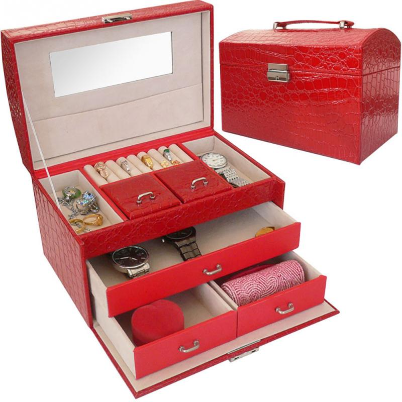 Three Layers Classical Leather Jewelry Box Double Drawer Exquisite Makeup Case With Mirror Lockable Travel Organizer Wooden box v cut wooden makeup organizer