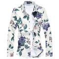 new autumn men fashion shirts high quality plus size 3XL 4XL 5XL rose or other 10 floral print casual shirts men