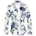 Los nuevos hombres del otoño camisas de la manera de alta calidad más tamaño 3XL 4XL 5XL rosa u otros 10 de la impresión floral camisas casuales hombres