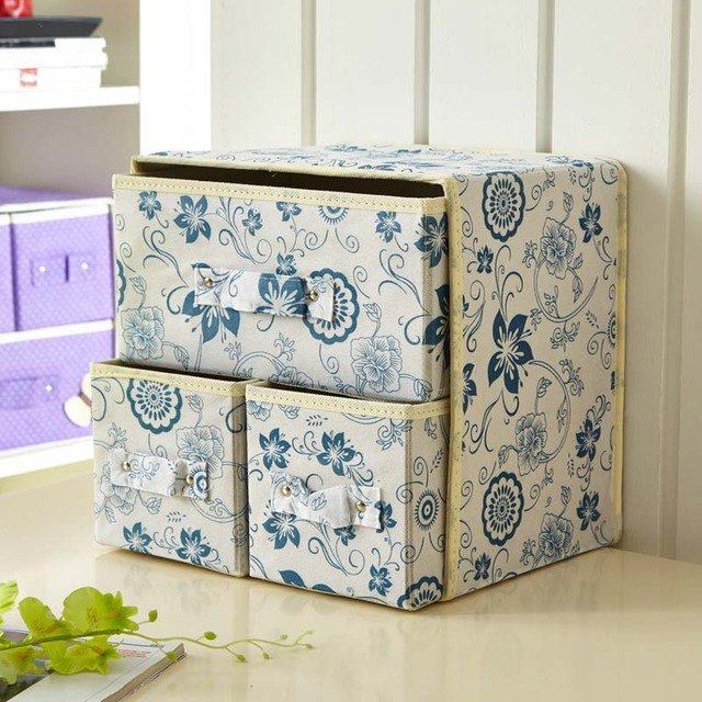 Textile Drawer Closet Box For Clothing Bra Underwear Organizer Folding 2  Layer Clothes Organizers Boxes Clothes