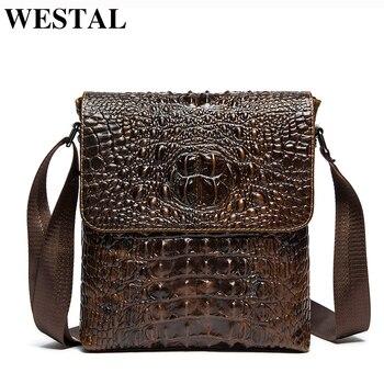 cc6c74fe90bf WESTAL мужская сумка через плечо из натуральной кожи мужские сумки мужские  кожаные мужские сумки-мессенджеры повседневные Аллигатор узор сум.