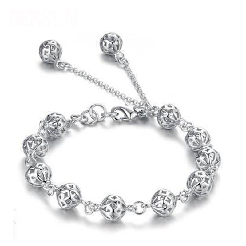 2017 Fashionable Silver Bracelet Hollow Ball Design Vintage Women Cham Bracelets Fine Je ...