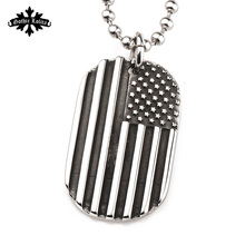 The Flag of the United States Stars and Stripes America military Dog tag for men stainless  Steel Pendant beads Necklace