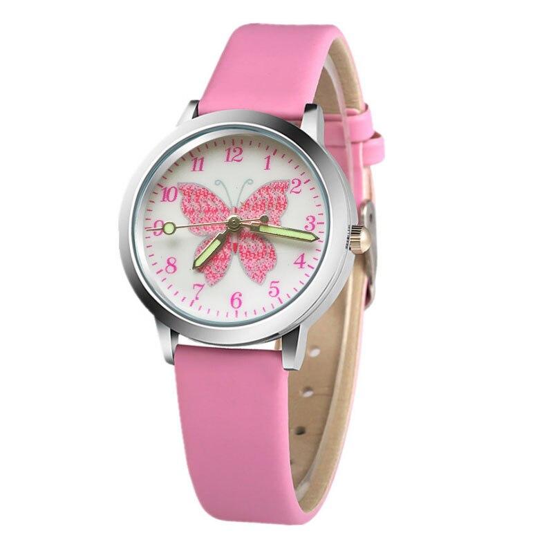 2018 Top Fashion Brand Pink Butterfly Cartoon Children Quartz Watch Children Ladies Leather Crystal Boy Clock Gift Student Sport