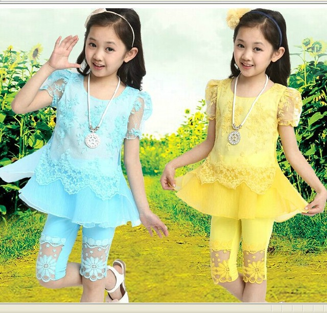 Kids Girls Summer Children Princess Child Two Piece Sports Sleeved Suits Kids Clothing Sets Lace Yellow Purple Blue Red