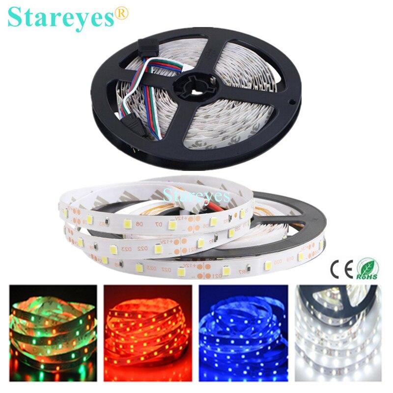 Free Shipping 1 pc SMD 3528 2835 60 LED / M RGB Strip 5M 300 LED DC12V Non Waterproof flash light LED String Light Tape lighting