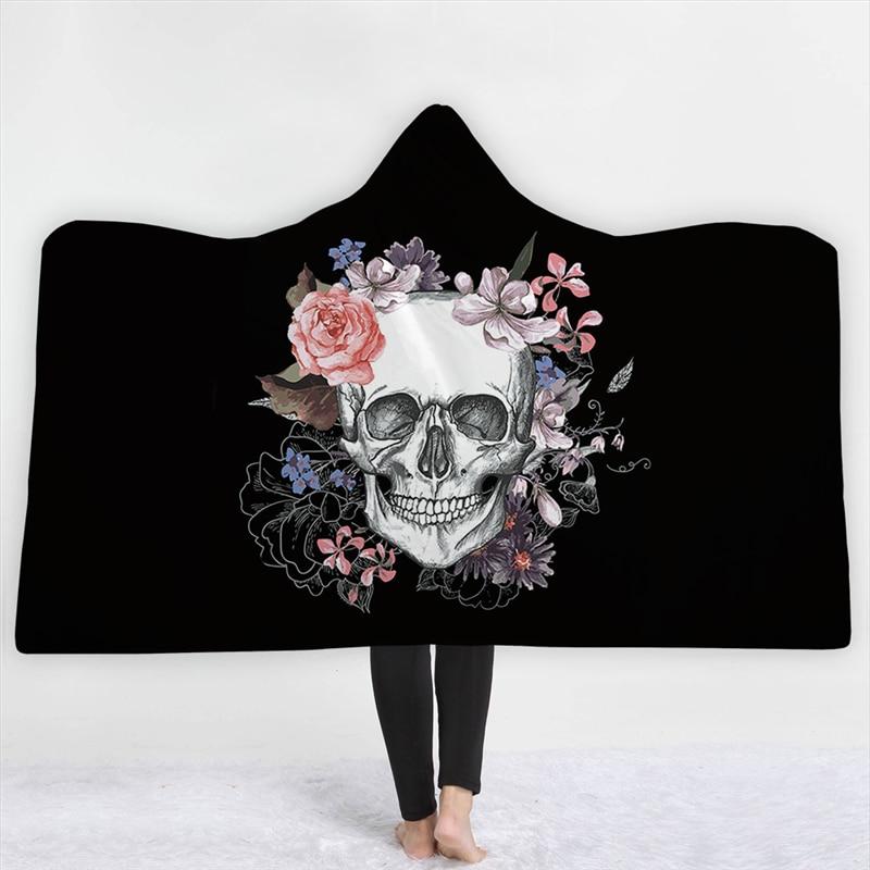 3D Skull Printed Hooded Blanket