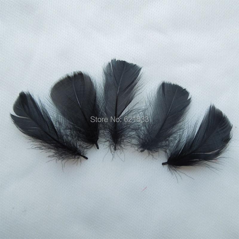 Оптовая продажа! 500 шт./лот 4-6 см черный Цвет гусиных перьев Плюм для свадьбы, шляпа, аксессуары для волос Бесплатная доставка