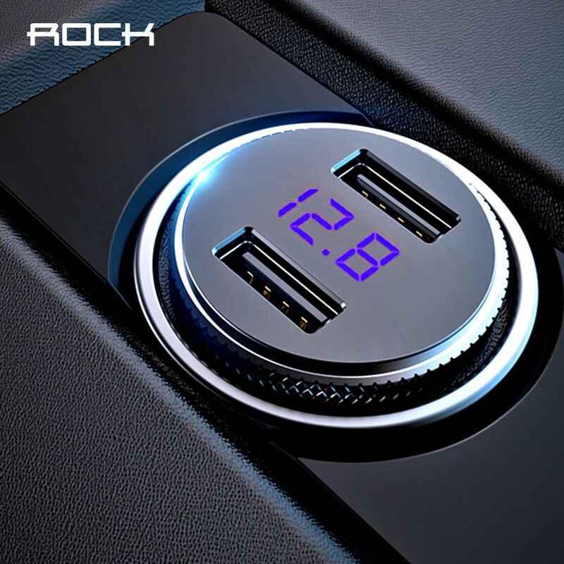 ROCK Mobil Ganda USB Charger LED Display Universal 3.4A Ponsel Tablet Cepat Pengisian USB Charger untuk Mobil 2 USB Adapter